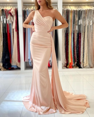 Simple evening dress pearl pink | Prom dresses long cheap_2
