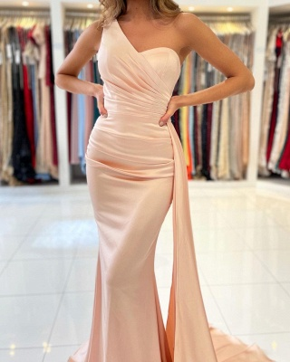 Simple evening dress pearl pink | Prom dresses long cheap_3