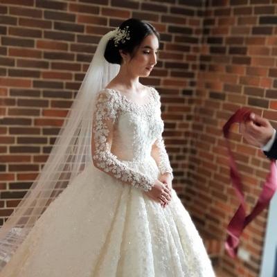 Elegante Hochzeitskleider Prinzessin | Brautkleider Lange Ärmel_3