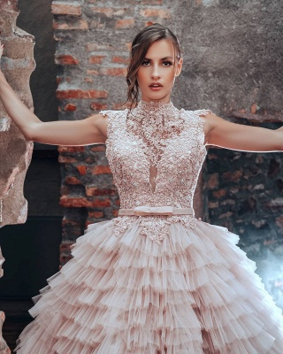 Blush Pink Wedding Dresses A Line | Luxury wedding dresses with lace_3
