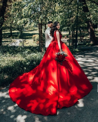 Red wedding dresses princess   Wedding dresses with lace_6