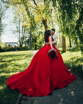 Red wedding dresses princess   Wedding dresses with lace_3