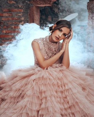 Blush Pink Wedding Dresses A Line | Luxury wedding dresses with lace_2