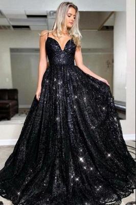 Schwarze Abendkleider Lang Glitzer | Abiballkleider Online Kaufen_1