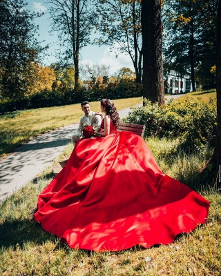 Red wedding dresses princess   Wedding dresses with lace_5