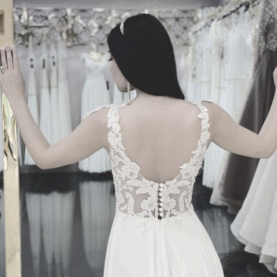 Schlichtes Hochzeitskleid Günstig   Brautkleider Mit Spitze_2