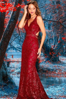Red lace evening dresses | Prom dresses long glitter cheap