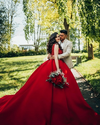 Red wedding dresses princess   Wedding dresses with lace_7