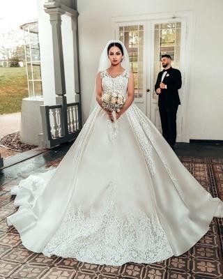 Brautkleider A Linie Spitze | Satin Hochzeitskleider Online_2