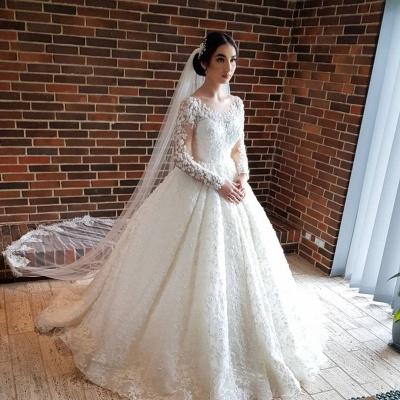 Elegante Hochzeitskleider Prinzessin | Brautkleider Lange Ärmel_2