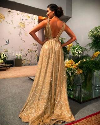 Gold Abendkleider Lang Glitzer   Abiballkleider Günstig Online_3