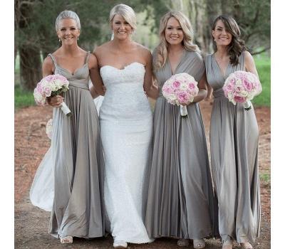 Silber Brautjungfernkleider Lang Günstig | Kleider Für Brautjungfern Online_1