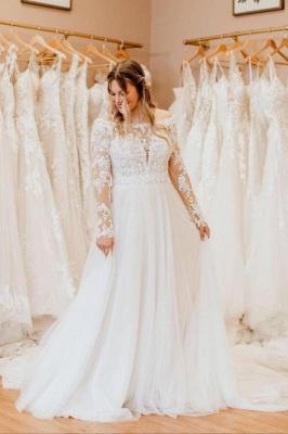 Schlichtes Brautkleid Mit Spitze | Hochzeitskleider Lange Ärmel