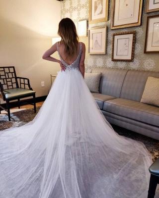 Designer Brautkleider A Linie   Tüll Hochzeitskleider V Ausschnitt_2