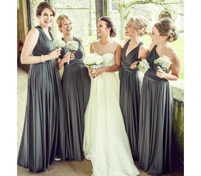 Brautjungfer Kleid Schwarz | Wandelbare Brautjungfernkleider Lang_2