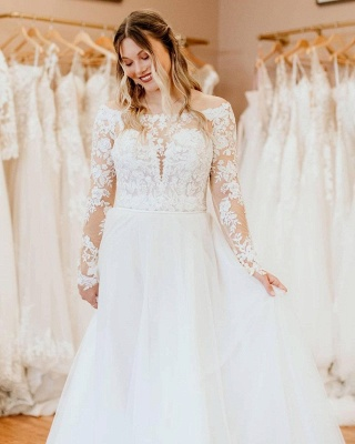 Simple wedding dress with lace   Wedding dresses long sleeves_3