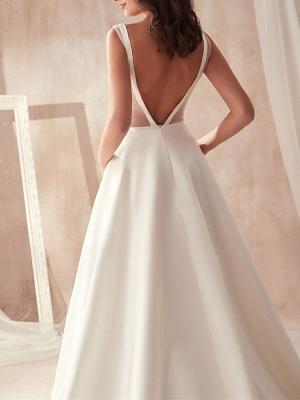 Schliches Hochzeitskleid A Linie | Brautkleider Günstig Online_5