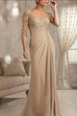Champagne Mother of the Bride Dresses With Sleeves | Dresses for mother of the bride