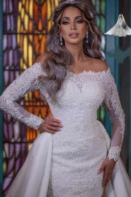 Brautkleider Meerjungfrau Mit Ärmel | Glitzer Hochzeitskleider mit Spitze_4