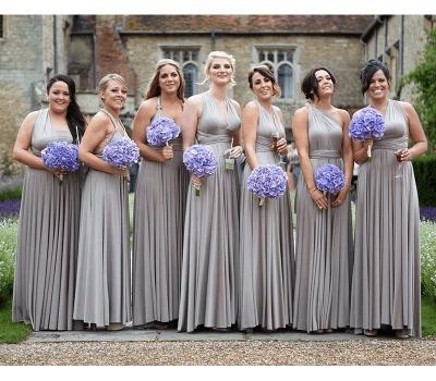 Silber Brautjungfernkleider Lang Günstig | Kleider Für Brautjungfern Online_2