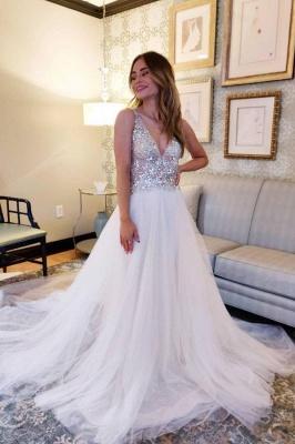 Designer Brautkleider A Linie | Tüll Hochzeitskleider V Ausschnitt