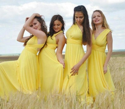 Gelb Brautjungfernkleider Lang Günstig   Wandelbare Kleider Für Brautjungfern_3