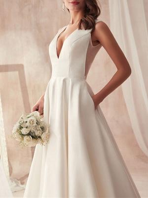 Schliches Hochzeitskleid A Linie | Brautkleider Günstig Online_4