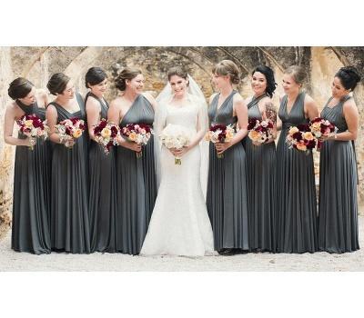 Brautjungfer Kleid Schwarz | Wandelbare Brautjungfernkleider Lang