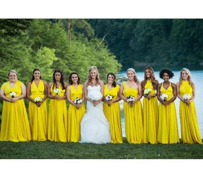 Gelb Brautjungfernkleider Lang Günstig   Wandelbare Kleider Für Brautjungfern_5
