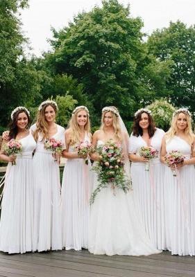 Weiße Brautjungfernkleider Lang Günstig | Hochzeitsgästekleider Online