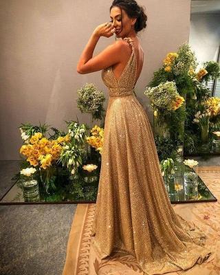 Gold Abendkleider Lang Glitzer   Abiballkleider Günstig Online_2