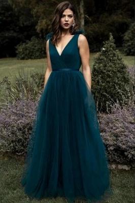 Schlichtes Abendkleid Lang V Ausschnitt   Abendkleider Dunkel Grün_1