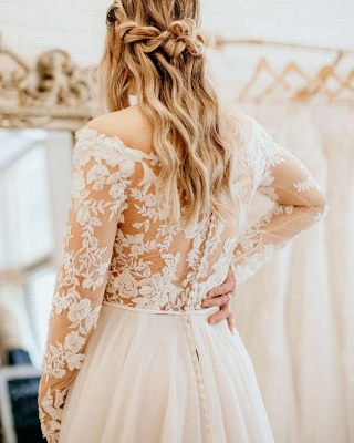 Simple wedding dress with lace   Wedding dresses long sleeves_2