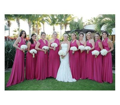 Fuchisa Brautjungfernkleider Lang Günstig | Wandelbar Brautjungfernkleid Hochzeit_2