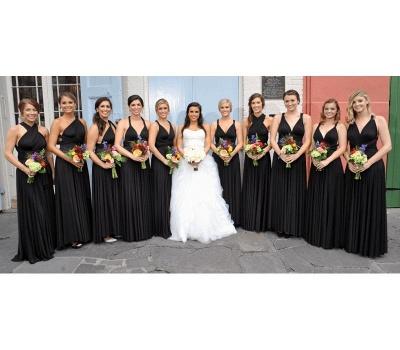 Schwarzes Brautjungfernkleid Wandelbar   Brautjungfernkleider Lang Günstig_2
