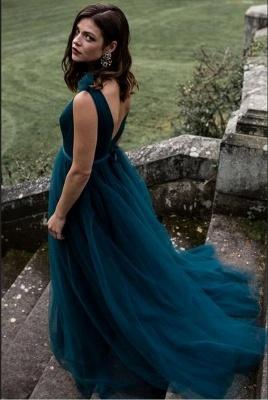 Schlichtes Abendkleid Lang V Ausschnitt   Abendkleider Dunkel Grün_2