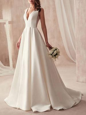 Schliches Hochzeitskleid A Linie | Brautkleider Günstig Online_2