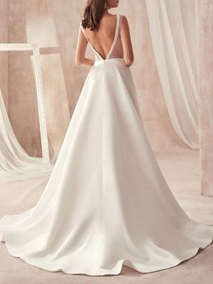 Schliches Hochzeitskleid A Linie | Brautkleider Günstig Online_3