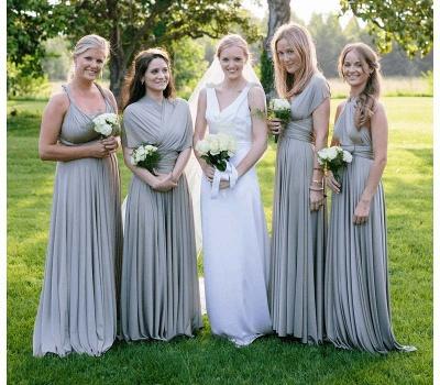 Silber Brautjungfernkleider Lang Günstig | Kleider Für Brautjungfern Online_3