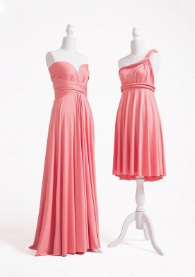 Pink Convertible Bridesmaid Dresses | Short bridesmaid dress cheap_3