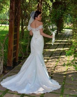 Weiße Brautkleider Spitze   Hochzeitskleider Meerjungfrau Stil_2