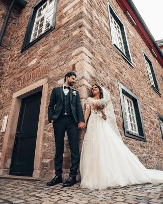 Elegante Brautkleider mit Ärmel   Hochzeitskleider A Linie Spitze_5