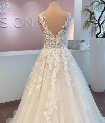 Günstige Hochzeitskleider mit Spitze | Brautkleider A Linie_3