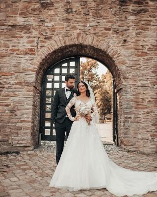 Elegante Brautkleider mit Ärmel   Hochzeitskleider A Linie Spitze_6