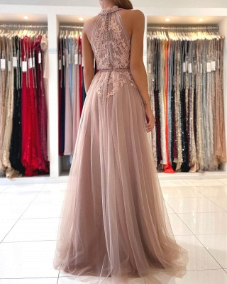 Beautiful evening dress long pink | Prom dresses with lace_2
