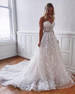Wunderschöne Brautkleider Spitze | Weiße Hochzeitskleider A Linie_4