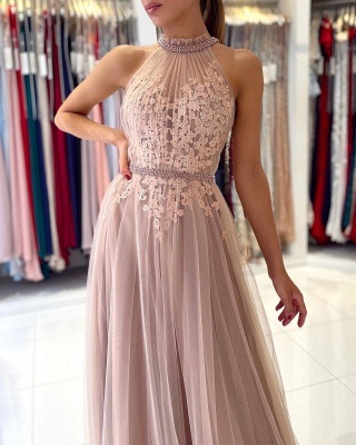 Beautiful evening dress long pink | Prom dresses with lace_4
