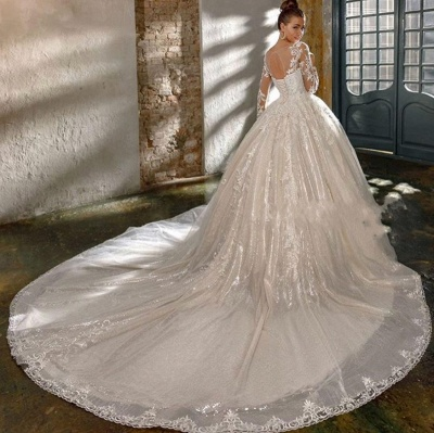 Elegant wedding dresses with glitter   Wedding dresses a line with sleeves_3