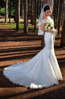 Weiße Brautkleider Spitze   Hochzeitskleider Meerjungfrau Stil_1