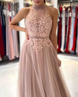 Beautiful evening dress long pink | Prom dresses with lace_3